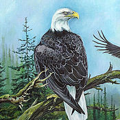 Картины и панно handmade. Livemaster - original item The picture of the Two eagle - oil, summer landscape, birds, summer, blue, green. Handmade.