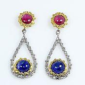 Украшения handmade. Livemaster - original item Earrings with sapphires. Handmade.