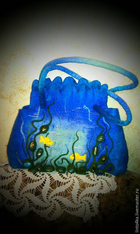 """Женские сумки ручной работы. Ярмарка Мастеров - ручная работа. Купить Cумка валяная""""Океан"""". Handmade. Синий, сумка с декором"""