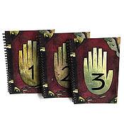 Блокноты ручной работы. Ярмарка Мастеров - ручная работа Комплект дневников Гравити Фолз «1, 2, 3 часть» на пружине. Handmade.