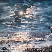 Картины и панно handmade. Livemaster - original item Oil painting night 50/70 Amethyst Bereg of the White sea,Murmansk obla. Handmade.
