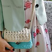 Сумки и аксессуары handmade. Livemaster - original item Small turquoise clutch bag with a long strap.. Handmade.