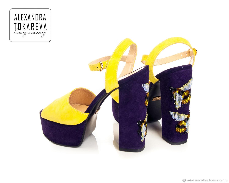 Copy of Exclusive shoes handmade embroidered beads Elegant flowers, Slingbacks, Kiev,  Фото №1