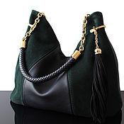 Сумки и аксессуары handmade. Livemaster - original item Granville Emerald Black, Hobo Leather Bag with Braided Handle. Handmade.