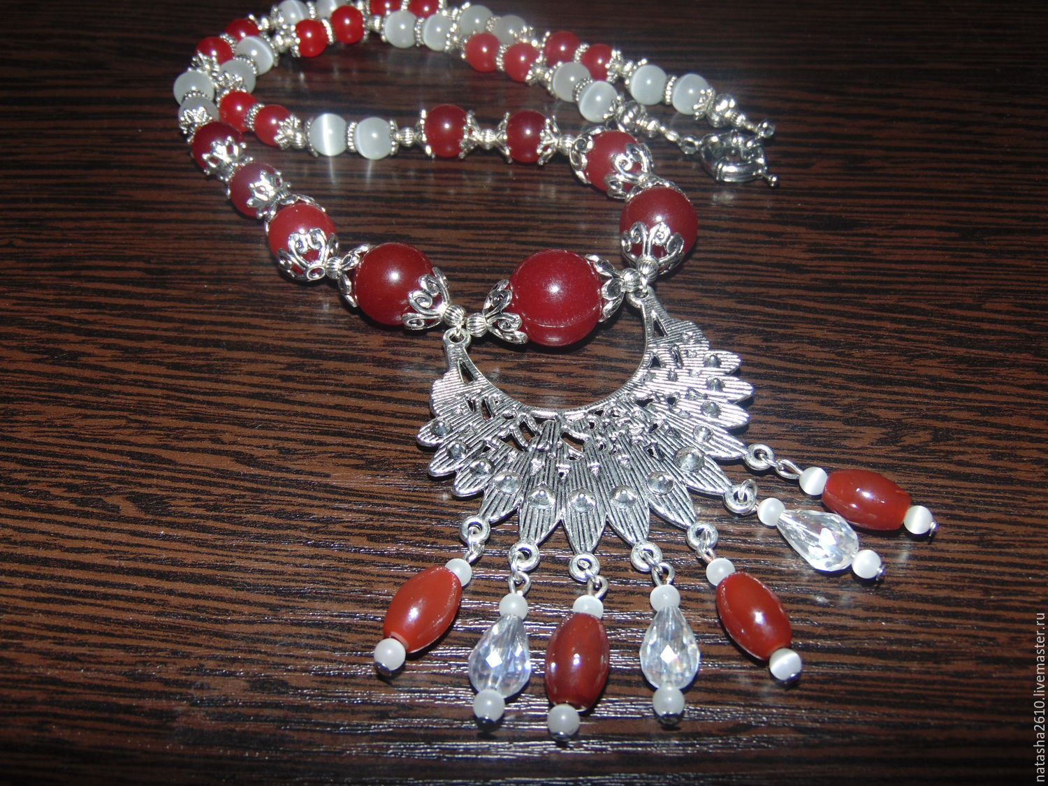 Necklace made of natural stones of carnelian and agate, Necklace, Velikiy Novgorod,  Фото №1