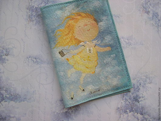"""Обложки ручной работы. Ярмарка Мастеров - ручная работа. Купить обложка для паспорта """"Я летаю"""". Handmade. Обложка на паспорт, голубой"""
