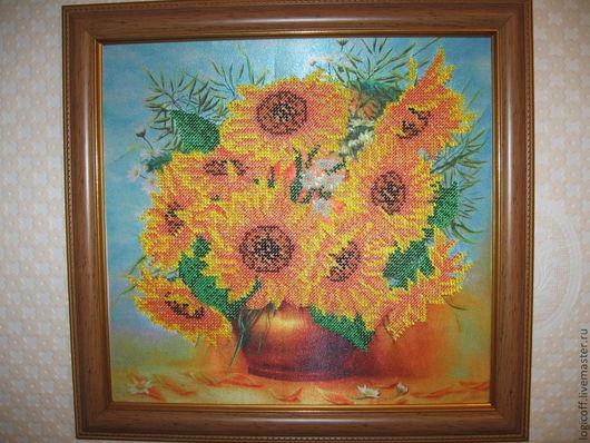 """Картины цветов ручной работы. Ярмарка Мастеров - ручная работа. Купить Картина """"Подсолнухи"""". Handmade. Желтый, подсолнухи, ручная работа"""