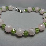 Украшения handmade. Livemaster - original item Bracelet with chrysolite and rose quartz