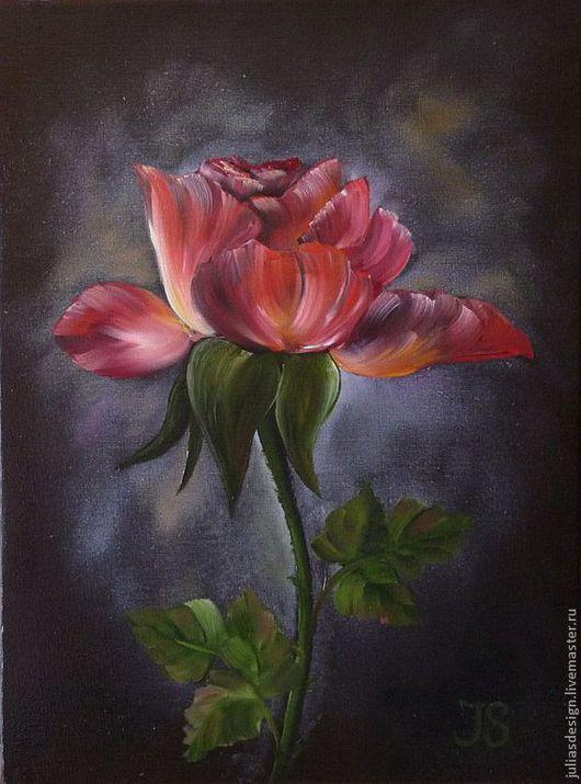 """Картины цветов ручной работы. Ярмарка Мастеров - ручная работа. Купить Картина """"Роза"""". Handmade. Ярко-красный, роза"""