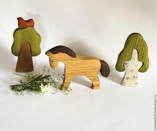 Игрушки животные, ручной работы. Ярмарка Мастеров - ручная работа. Купить Лошадь деревянная развивающая игрушка. Handmade. Деревянная игрушка
