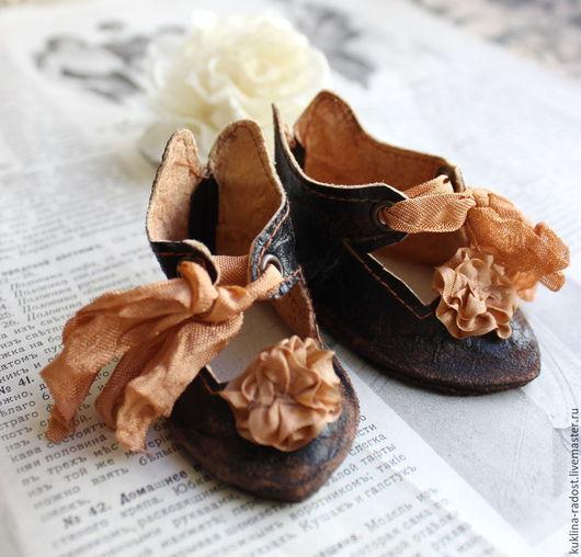 Винтажная обувь. Ярмарка Мастеров - ручная работа. Купить Туфли для антикварной куклы. Handmade. Черный, обувь для куклы, кукольная обувь