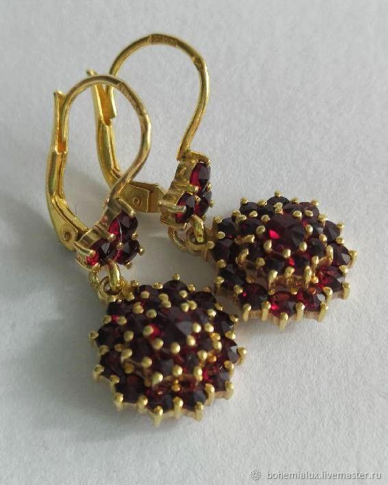Garnet earrings Silver 900 gilding Czech grenades 1970, Vintage earrings, Prague,  Фото №1