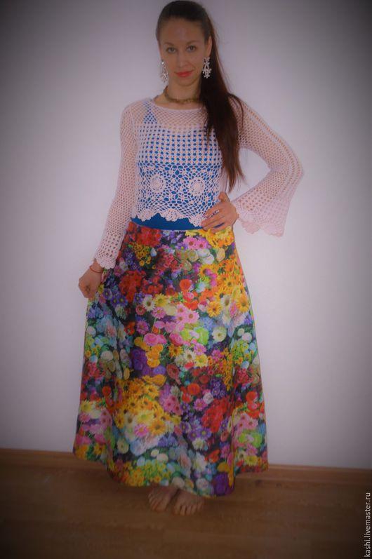 """Юбки ручной работы. Ярмарка Мастеров - ручная работа. Купить """"РасЦвет"""" весенняя длинная юбка. Handmade. Комбинированный, весенние цвета"""
