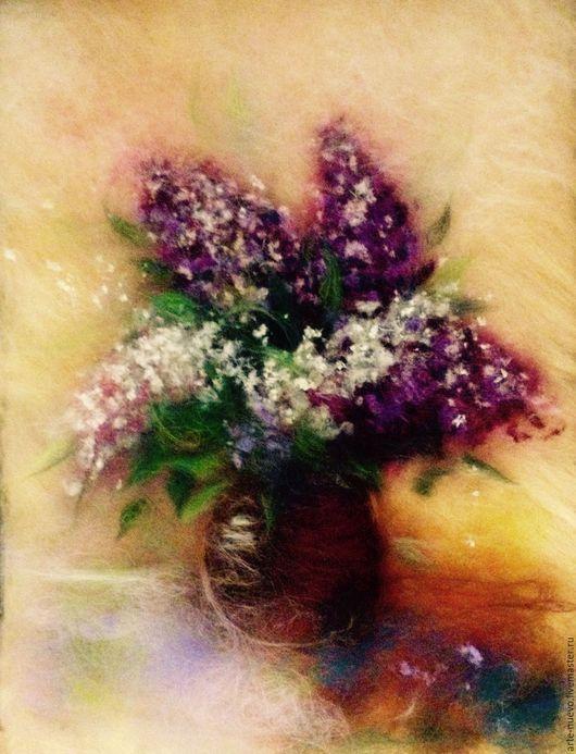 """Картины цветов ручной работы. Ярмарка Мастеров - ручная работа. Купить Картина из шерсти """"Сирень"""". Handmade. Комбинированный, картина с цветами"""