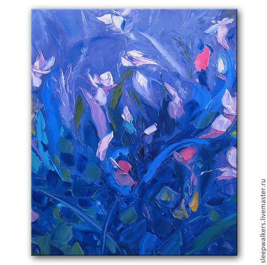 """Картины цветов ручной работы. Ярмарка Мастеров - ручная работа. Купить """"Мистический сад"""" 70х50 см картина маслом мастихином цветы синяя. Handmade."""