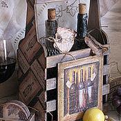 """""""Сhateau 1953....."""" Короб для вина+подставки для фужеров в подарок"""