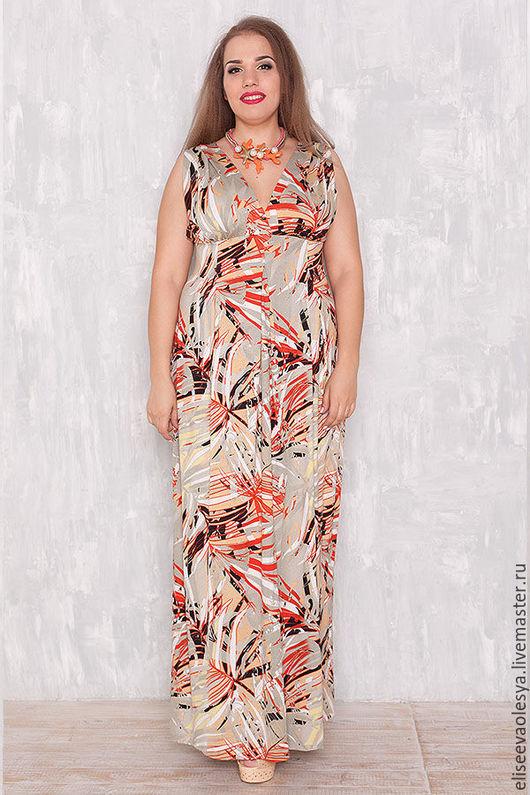 Платья ручной работы. Ярмарка Мастеров - ручная работа. Купить Длинный сарафан из вискозы 26016-1. Handmade. Платье для полных