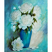 Материалы для творчества handmade. Livemaster - original item Digital image of the painting with peonies