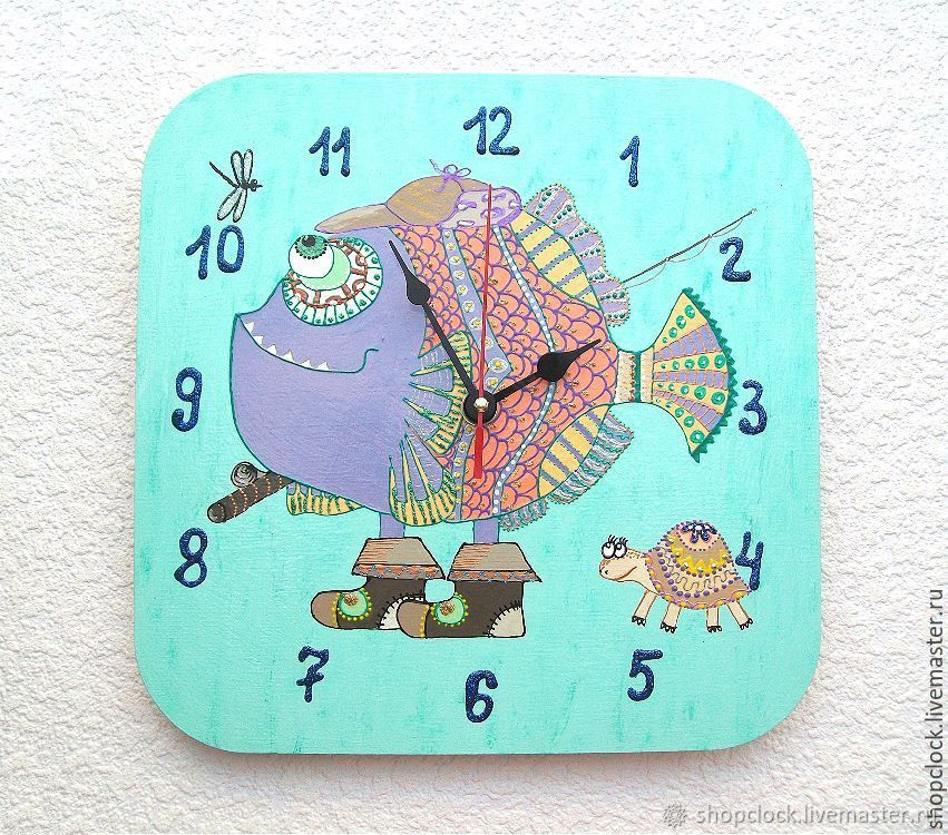 Ethnic wall clock for children Fish, Watch, Novosibirsk,  Фото №1