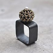 Rings handmade. Livemaster - original item Square ring with pearl, silver and brass. Handmade.