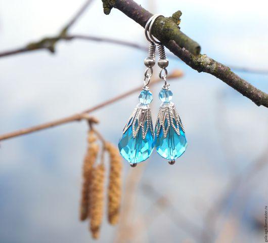 """Серьги ручной работы. Ярмарка Мастеров - ручная работа. Купить Серьги  """"Весна"""". Handmade. Голубой, яркие серьги, для девушки"""