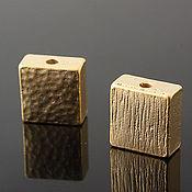 Материалы для творчества ручной работы. Ярмарка Мастеров - ручная работа 901 Бусины 8 мм  позолота квадратные. Handmade.