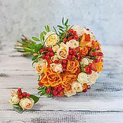 Свадебные букеты ручной работы. Ярмарка Мастеров - ручная работа Рыжий персиковый букет невесты. Handmade.