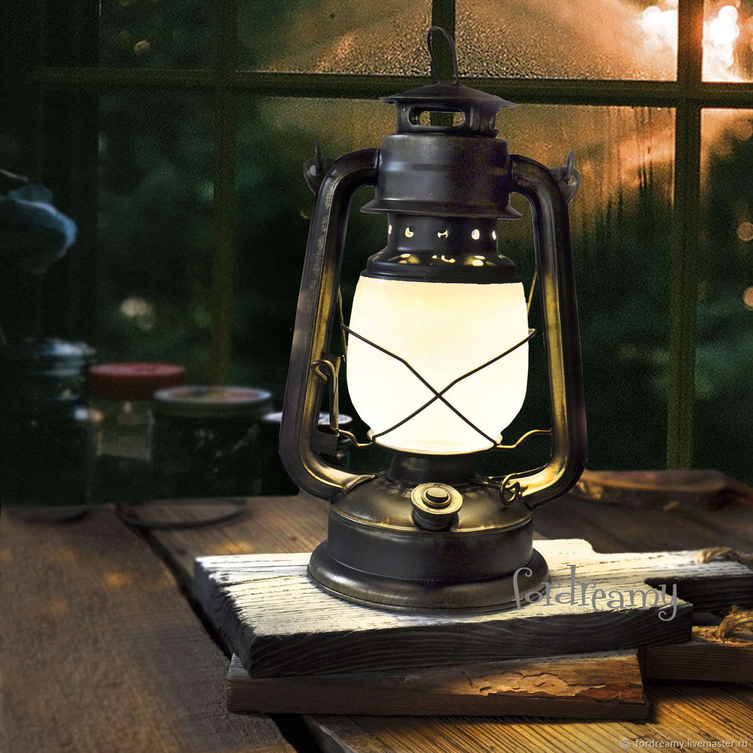 Kerosene lamp battery powered black for a photo shoot or home, Table lamps, Moscow,  Фото №1