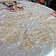 """Текстиль, ковры ручной работы. Льняная чайная скатерть в винтажном стиле """" Синички в розовом саду"""". Наталия Сухова (NSDecor). Ярмарка Мастеров."""