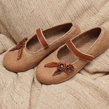 """Обувь ручной работы. Ярмарка Мастеров - ручная работа Туфли валяные женские """"Август"""". Handmade."""