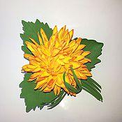 """Украшения ручной работы. Ярмарка Мастеров - ручная работа Брошь """"Желтая хризантема"""" из фоамирана. Handmade."""