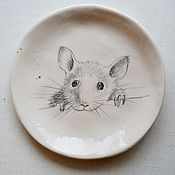 Тарелки ручной работы. Ярмарка Мастеров - ручная работа Тарелка Мышка. Handmade.