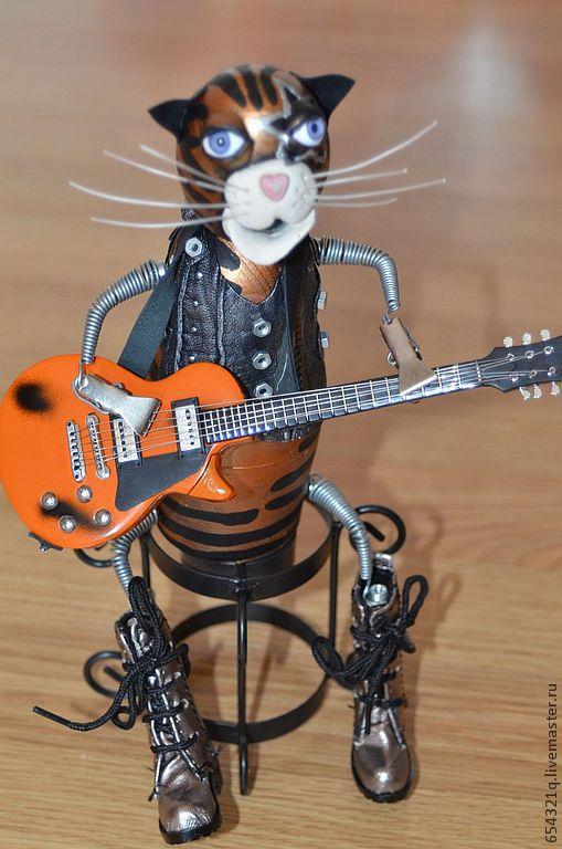 Статуэтки ручной работы. Ярмарка Мастеров - ручная работа. Купить легенды рока. Handmade. Кот в сапогах, музыкант, музыкальные инструменты