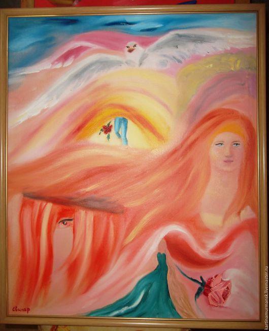 """Абстракция ручной работы. Ярмарка Мастеров - ручная работа. Купить Картина маслом интуитивная абстрактная живопись 50/60 """"Одно Желание"""". Handmade."""