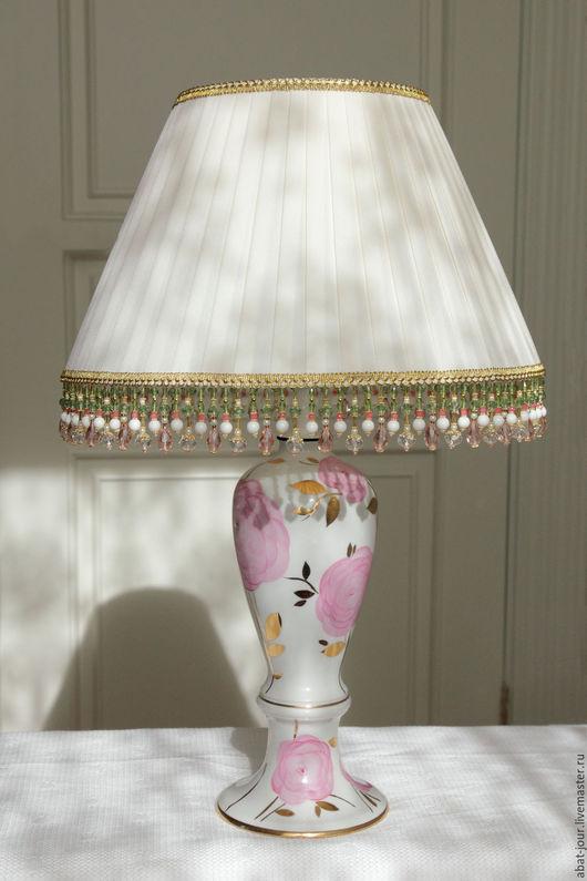 Освещение ручной работы. Ярмарка Мастеров - ручная работа. Купить лампа интерьерная. Handmade. Бежевый, агат натуральный, освещение, стеклярус