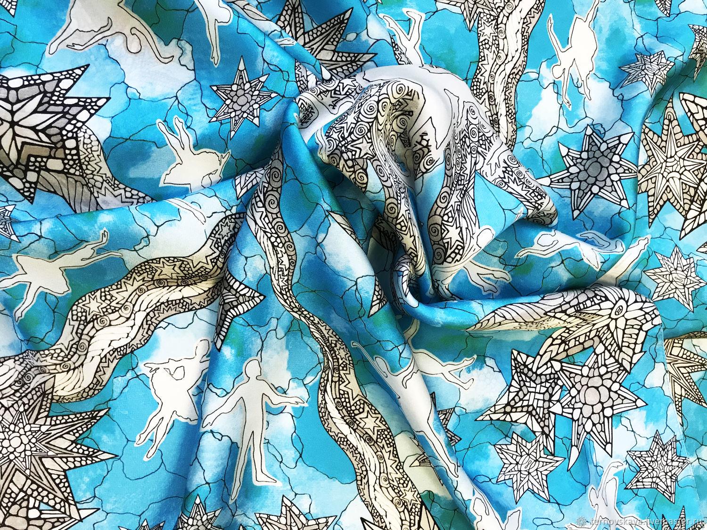 "Платок ""Балет сине-голубой"", Платки, Москва,  Фото №1"