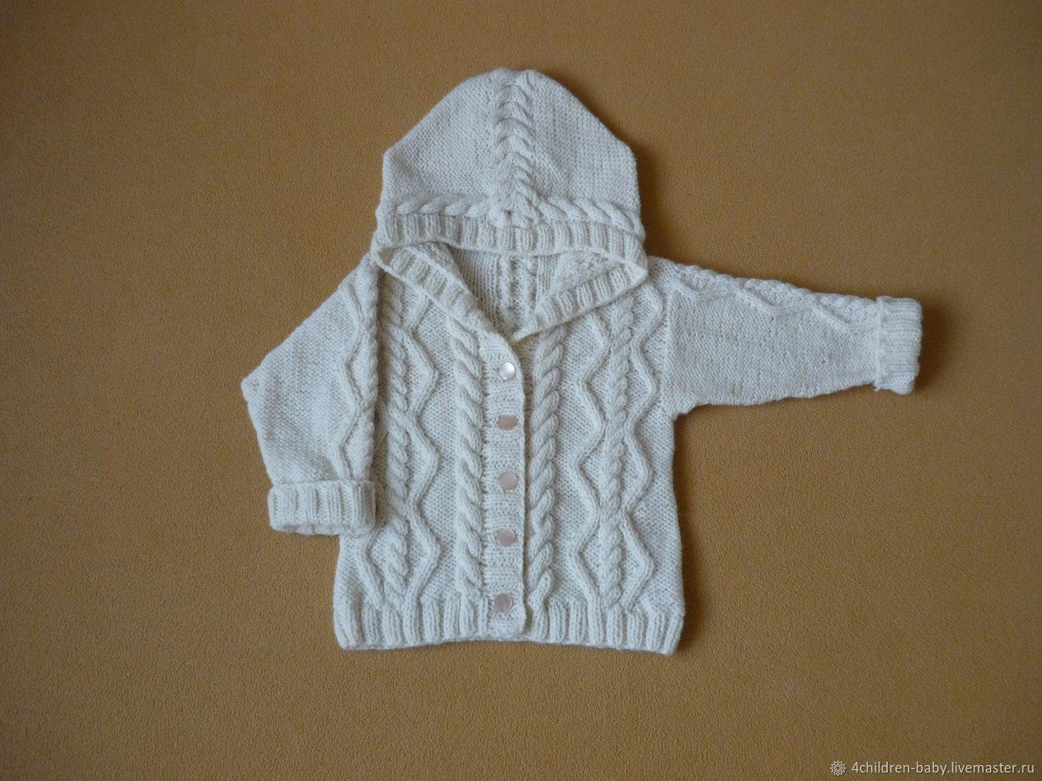 Creamy jacket with hood, Childrens cardigan, Moscow,  Фото №1