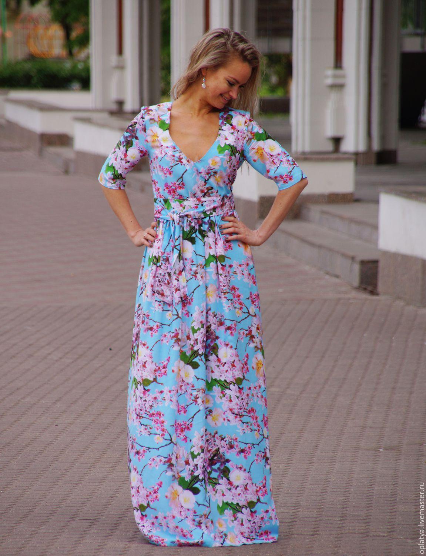 Длинное красивое летнее платье в