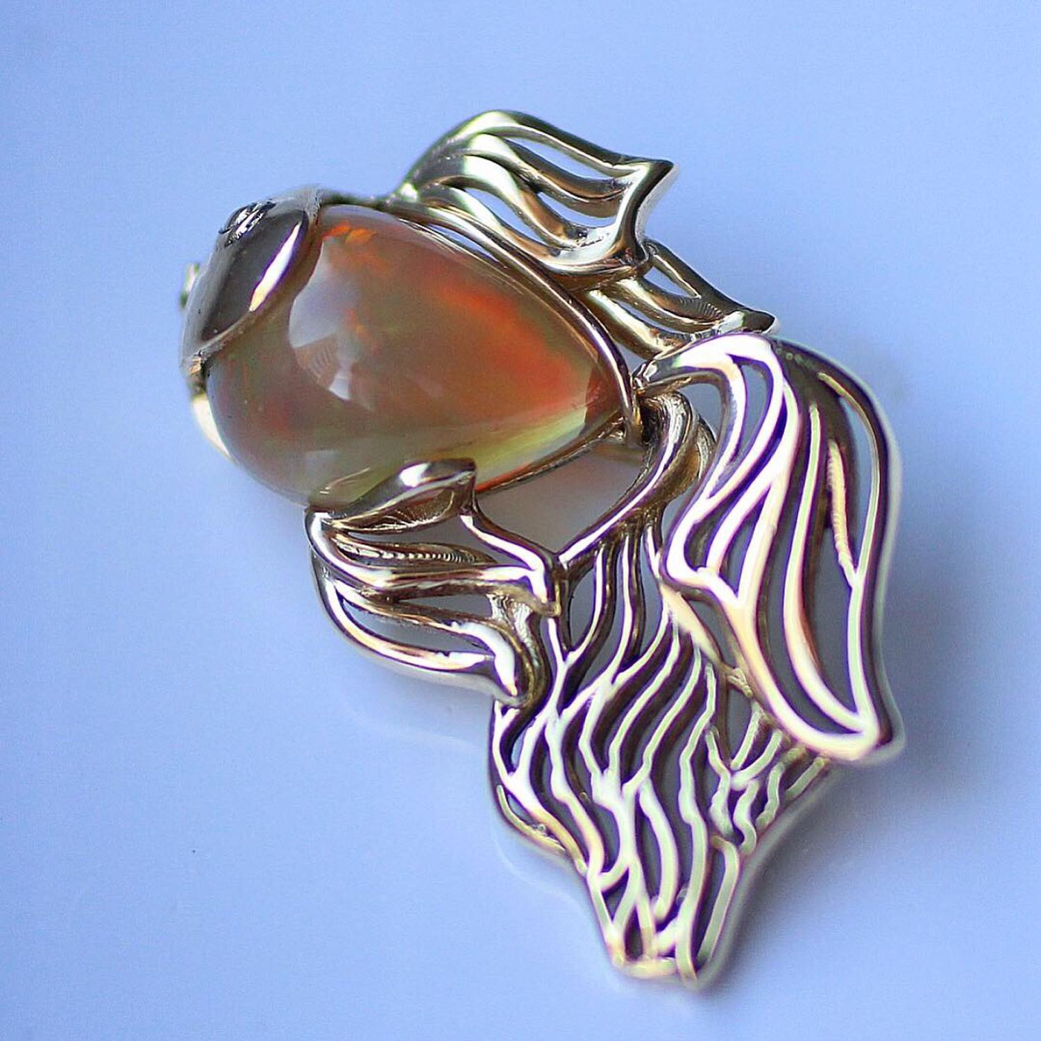 Gold fish brooch with Opal, Rings, Moscow,  Фото №1