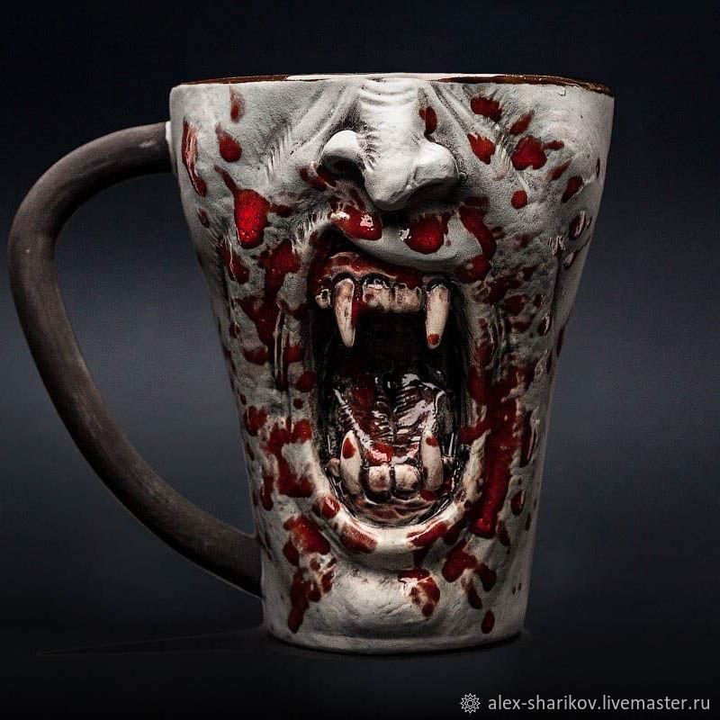 Кружка Вампир (реалистичная) Horror ceramic mug Vampire, Кружки, Санкт-Петербург,  Фото №1