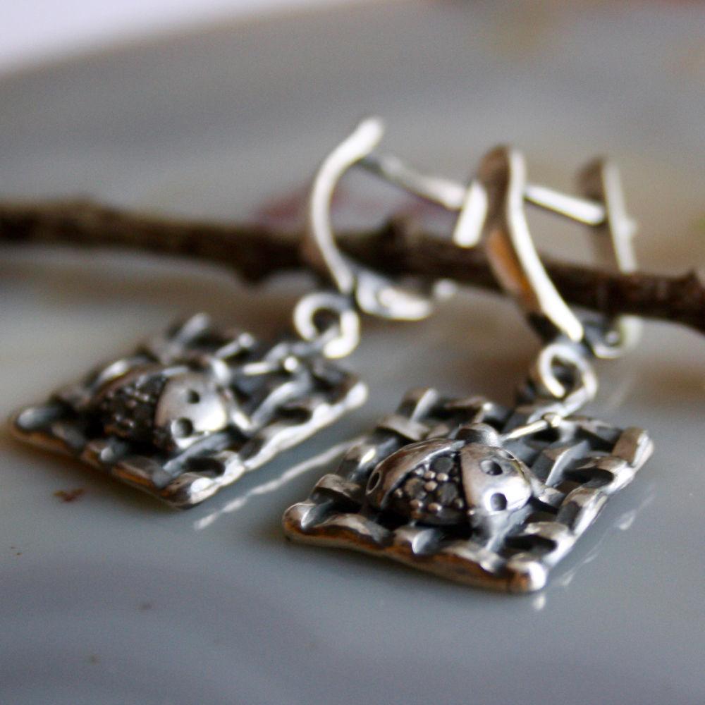 Silver, Amethyst: Ladybug Earrings', Earrings, Prague,  Фото №1