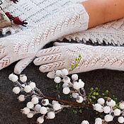 Аксессуары handmade. Livemaster - original item Downy long gloves with beads