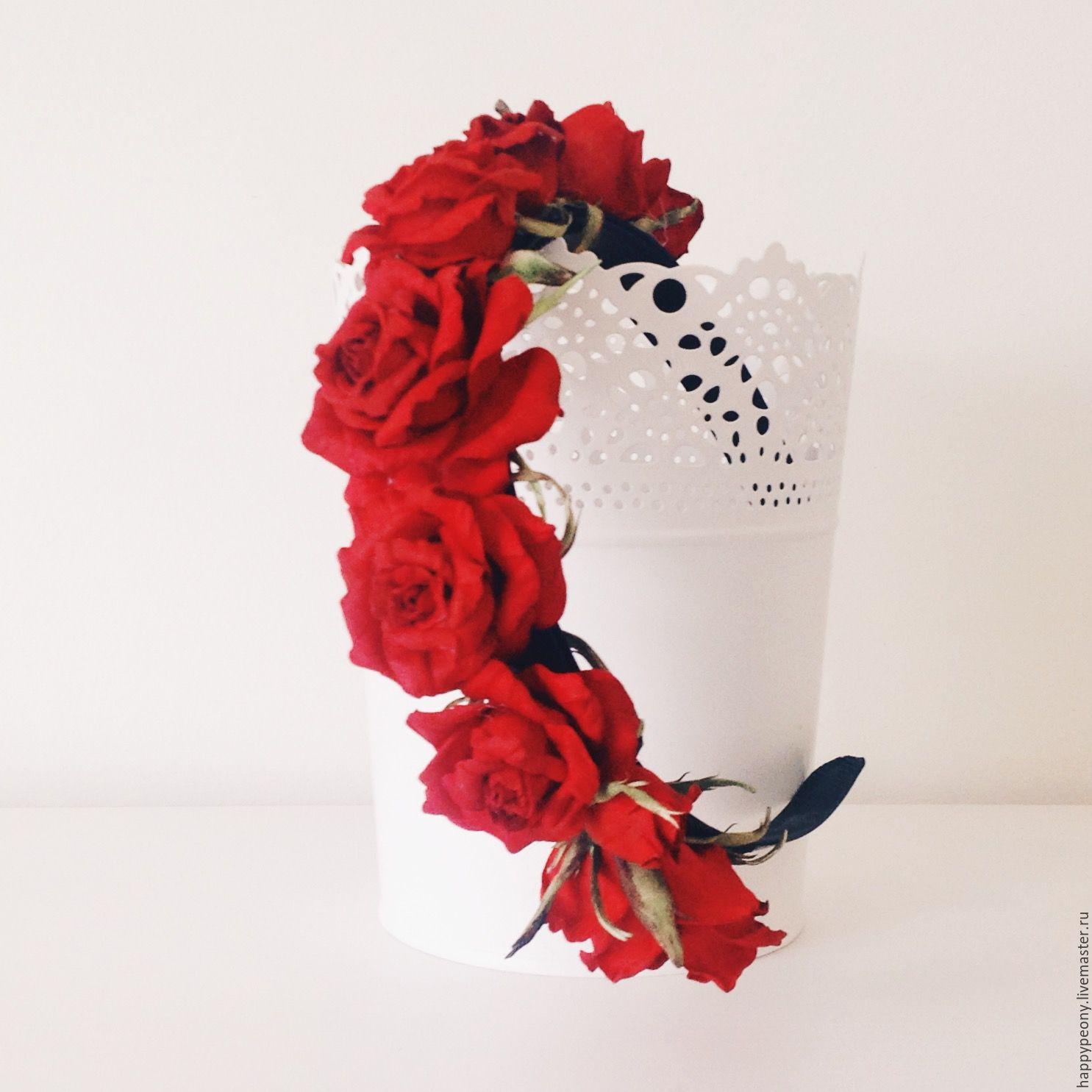Bezel with red roses Lola, Headband, Moscow,  Фото №1