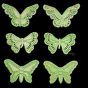 Материалы для творчества handmade. Livemaster - original item Set of embroidered Butterfly appliques 6 pieces. Handmade.