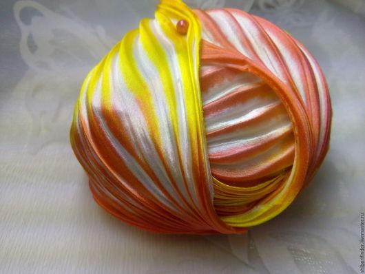 Для украшений ручной работы. Ярмарка Мастеров - ручная работа. Купить №70 Языки пламени  Ленты Шибори Silk Ribbons Shibori. Handmade.
