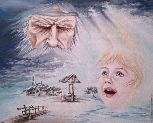 """Люди, ручной работы. Ярмарка Мастеров - ручная работа. Купить картина """"Вечный свет"""". Handmade. Разноцветный, ребенок, мост"""