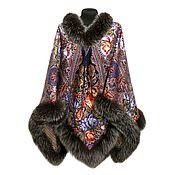 Одежда handmade. Livemaster - original item Women`s poncho with fur. Handmade.