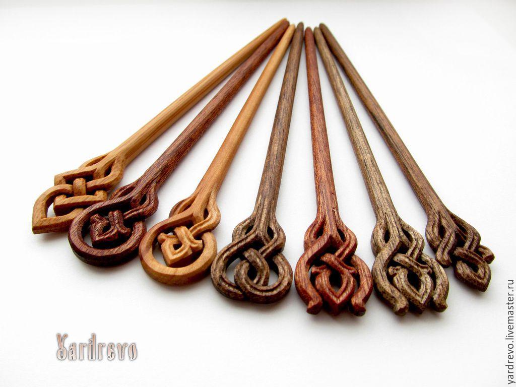 Купить Шпильки для волос вырезанные из дерева - шпилька, шпильки для волос, заколка, деревянные, из дерева