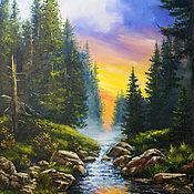 """Картины и панно handmade. Livemaster - original item Filin-artpe Sunset oil Painting on canvas- """" Forest sunset"""". Handmade."""