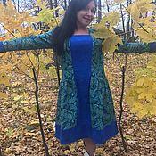Одежда ручной работы. Ярмарка Мастеров - ручная работа Платье фланелевое малахит на синем Александра. Handmade.